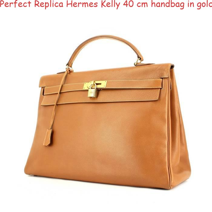 6dfa0ec78186 Perfect Replica Hermes Kelly 40 cm handbag in gold Courchevel leather