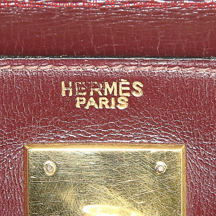 eeb9880a1002 UK Replica Hermes Kelly 28 cm handbag in burgundy box leather ...