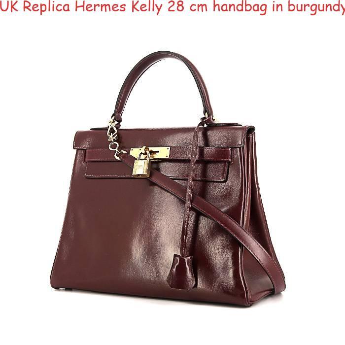 34f2e29a1af0 UK Replica Hermes Kelly 28 cm handbag in burgundy box leather ...